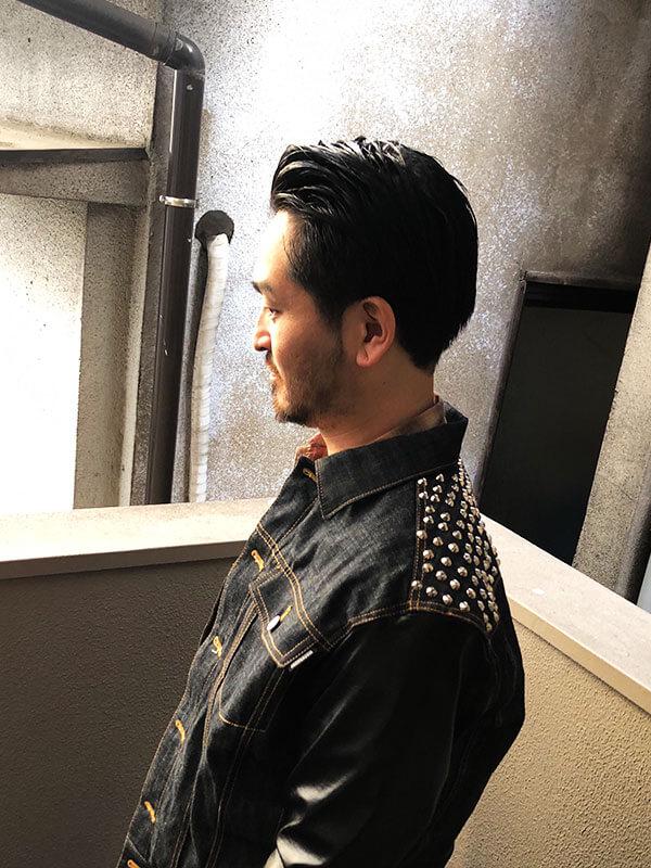 天神メンズ専門美容室ShoyaTsuda 刈り上げないオールバックスタイルその2
