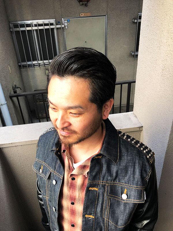 天神メンズ専門美容室ShoyaTsuda 刈り上げないオールバックスタイルその3